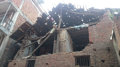 collapsed house at Khokana