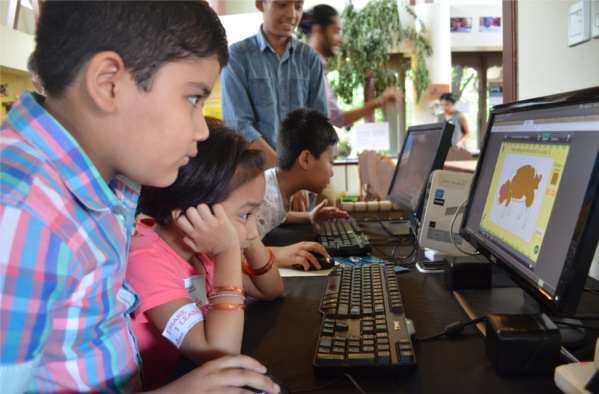 Children trying E-Paath activities