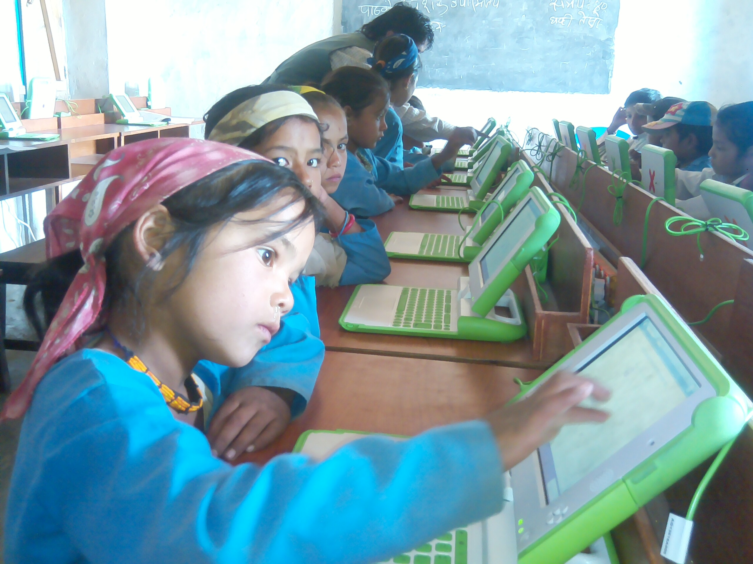 Laptop program in one of our project schools in Bajhang.