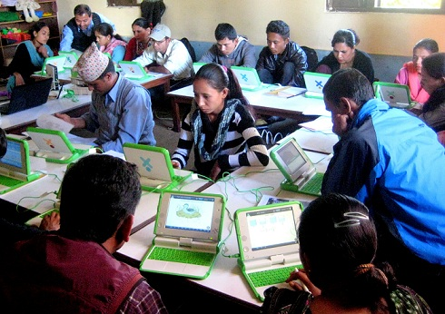 Teachers exploring the educational tools - XO laptops